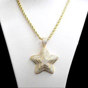 Other - 14K Gold Finish Lab Diamond 3D Star Charm Chain